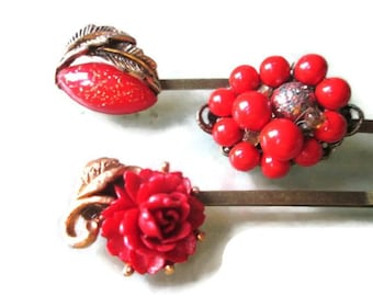 Christmas Red Hair Clips Holiday Hairpins Vintage Fashion Accessories Repurposed Vintage Jewelry