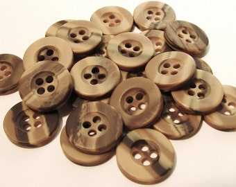 "Woodgrain Shades of Pecan: 1/2"" (13mm) Buttons - Wonderful Variegated Browns - Set of 25 New / Unused Buttons"