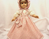 Five-piece dusty rose and ivory outfit, long, for 18 inch dolls.  Blouse, Jumper, Pantaloons, Bonnet, and Purse.