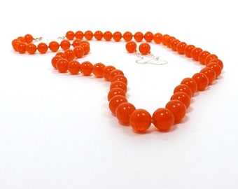 Orange Necklace Set, 19 1/2 inches (50cm) Long, Hand Knotted 8mm Shiny Finish Hyacinth Orange Beads with Matching Earrings