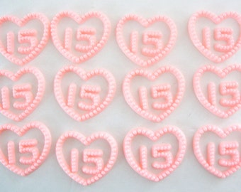 Pink Heart 15 Guinceanera Birthday Cake Toppers  - 12 Pieces