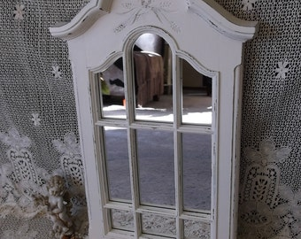 Shabby French Country Style Mirror,creamy white, distressed, window style