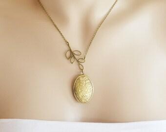 locket necklace, engraved locket, leaf locket jewelry, photo locket, locket jewelry,  leaf necklace, oval locket pendant, tree branch leaf