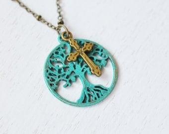 family tree necklace, cross jewelry, patina tree of life jewelry, cross jewelry, tree pendant, christmas gift, round tree necklace, bestie