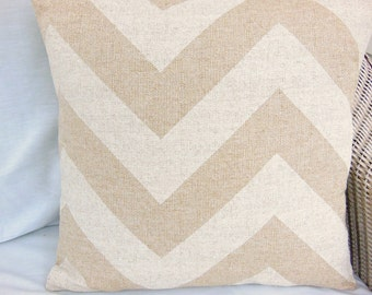 Tan Decorative Throw Pillows Cushion Covers Natural & White Chevron Burlap Home Decor Accents One or More All Sizes