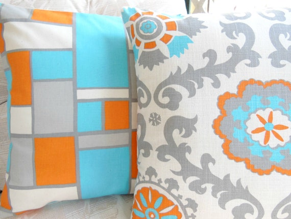 gray orange aqua throw pillow covers suzani decorative accent. Black Bedroom Furniture Sets. Home Design Ideas