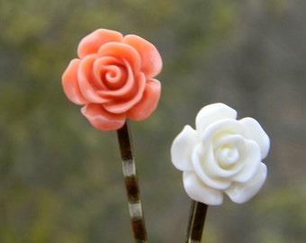 Flower hair pins handmade flower bobby pins flower hair accessories whimsical hairpins