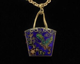 Cloisonne Enamel Purse Pendant Butterfly & Flower Late Victorian Era Gold Kremetz Necklace Cloissone Accents