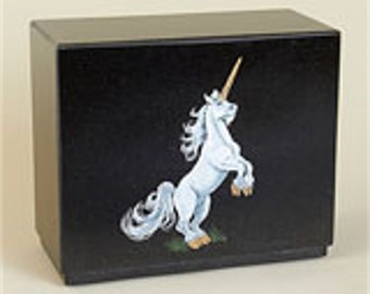 Hand etched and hand painted Unicorn on Black Granite