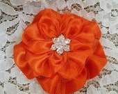 Persimmon Satin Flower Hair Clip, Wedding Hair Accessory, Flower Hair Clip,  Bridesmaid, Flower Girl, Brooch Pin, gift