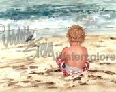 "Toddler Boy on Beach Sand Watching Seagull, Red, White, Blue Swim Suit, Children Watercolor Painting Print, Wall Art, Home Decor, ""Bird Boy"""