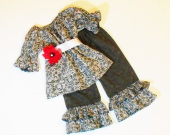 Girls  RUFFLE PANTS OUTFIT Size 3mo to 6 Boutique Outfit 3mo 6mo 9mo 12mo 18mo 24mo  2T 3T 4T 5 6  Baby Toddler Girl