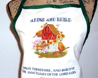 BBQ Kitchen Apron EmbroideredBirdhouse and Scripture