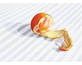 "5x7"" kitchen art - food print - ""Peeled orange"""