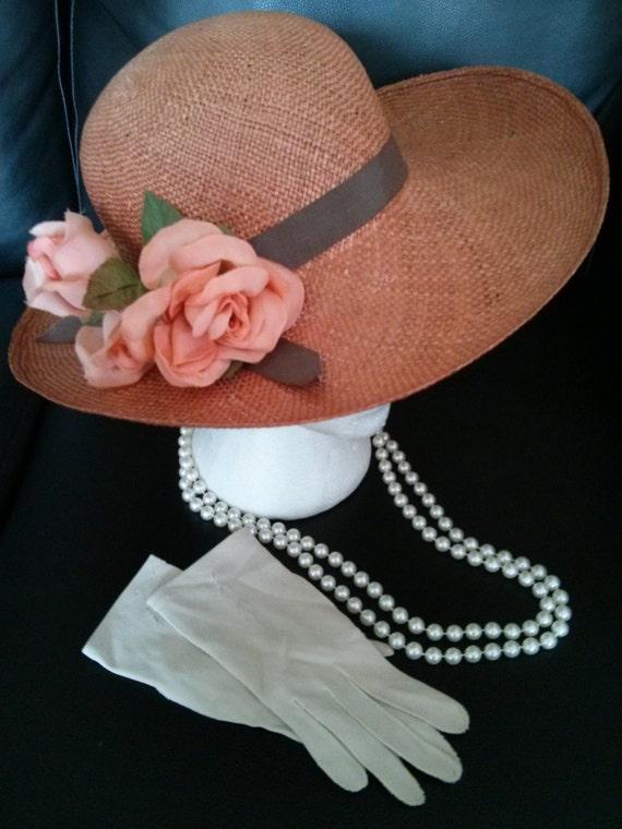 Orange Vintage Tea Party Set: hat, gloves, & pearl necklace, A Tea Party Collection