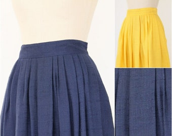 80s Pleated Skirt Nautical Navy & Gold Flax Preppy Office lightweight blue yellow yacht high waist two piece lot of skirts Buy one Get one