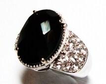 "Black spinel ring, black cocktail ring, black jewelry, black, s 5 ""Ladies Night"""