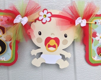 It's a girl banner, baby shower banner, red, yellow and green