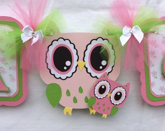 Owl baby shower banner, owl banner, owl decorations, owl girl banner, owl nursery decor, it's a girl banner, pink and green, table banner