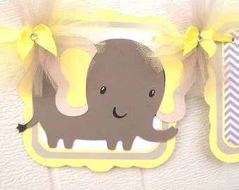 Elephant baby shower banner, elephant banner, gender neutral banner, yellow and gray, table banner, boy or girl banner, nursery decorations