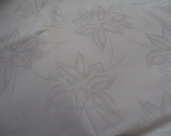 Over 3 Yards Vintage French White Damask Fabric Floral Leaves and Fruit 47 inches Wide Unused