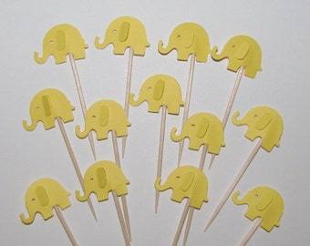 24 Elephant Picks in Bright Yellow- Party Picks, Cupcake Toppers, Food Picks