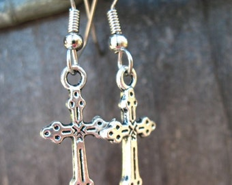 Surgical Stainless Steel Earrings, Silver Cross Charms with Hypoallergenic Steel Ear Wires