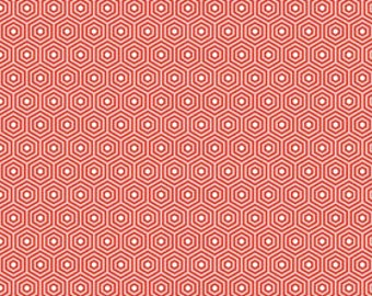 STORE CLOSING Sale Riley Blake Lazy Day Red Hexagon 1 yard