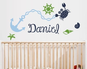 Nautical Personalized Name Decal - Nursery Wall Decal Sticker