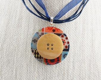 Handmade Upcycled Washer Necklace - Country Quilt