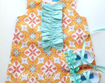 Orange Aqua Ruffle A-line Dress Shoes Set  Infant Outfit Baby Shoes