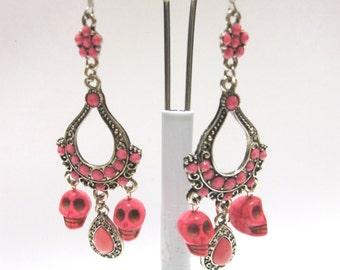 Day Of The Dead Earrings Sugar Skull Chandelier Dangles Pink