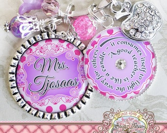 Teacher Gift Personalized Teacher Key chain (or Necklace), Thank You Gift, Teacher Appreciation, Apple Charm, Pink Purple, Polka Dots