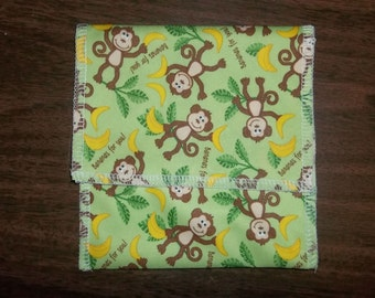Nursing pad pouch Made with PUL Cute Monkey design