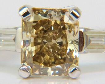1.28CT Fancy Yellow Orange Diamond Ring VS Princess & Platinum
