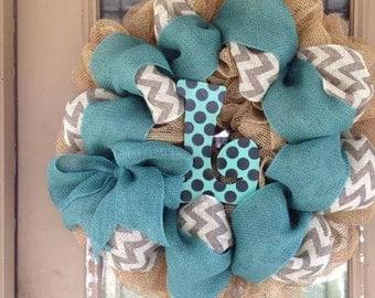 Turquoise Burlap Wreath and Chevron Burlap Deco Mesh Wreath