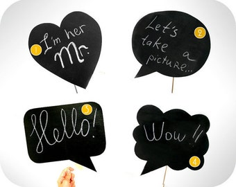 4 Chalkboard Photobooth Prop on a stick - Choose your favorite shape