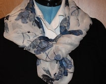 White and Blue Floral Sheer Infinity Scarf (S001)