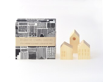Marimekko Pattern Ceramic Tile Coasters City Graphical Black and White Modern Drink Coasters, set of 4