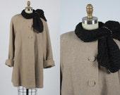 1950s coat/ 50s swing coat/ fur collar
