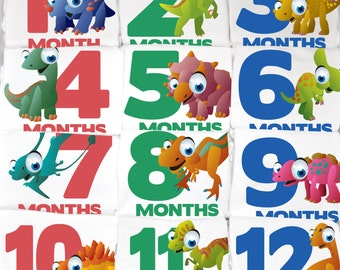 Dinosaur Month to Month Baby Onesie Set - 12 Month Set of Onesies - Perfect Baby Shower Gift