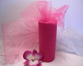 """Tulle / 25 Yards  6""""  Fuchsia Hot Pink - Spool Nylon - Bridal - Gift Wrap - Wedding Decoration -Tutu and Costume Supplies - Pew Bow Material"""