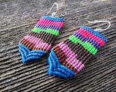 Handmade Micro Macrame Earrings in Blue, Pink, Purple, Brown & Green with Sterling Silver Hoops