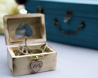 Personalized Bride & Groom Initials  Wedding Ring Box Alternative To The Ring Pillow Rustic Woodland Outdoor Wedding