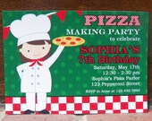 Girl's Pizza Party Invitation Printable or Printed with FREE SHIPPING- You Pick Hair Color/Style and Skin Tone - Pizzeria Party Collection