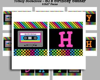 80's Happy Birthday Banner Printable - Instant Download -  Birthday Bunting - Totally Awesome 80s Collection