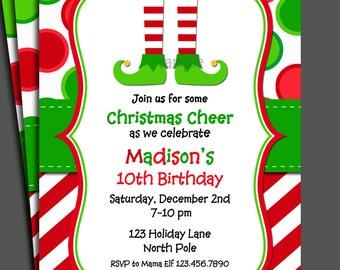 Christmas Elf Invitation Printable - Christmas Birthday, Christmas Party ANY holiday event - North Pole MagicCollection