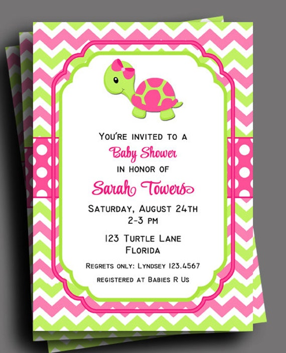 Turtle invitation printable or printed with free shipping girls il570xn filmwisefo