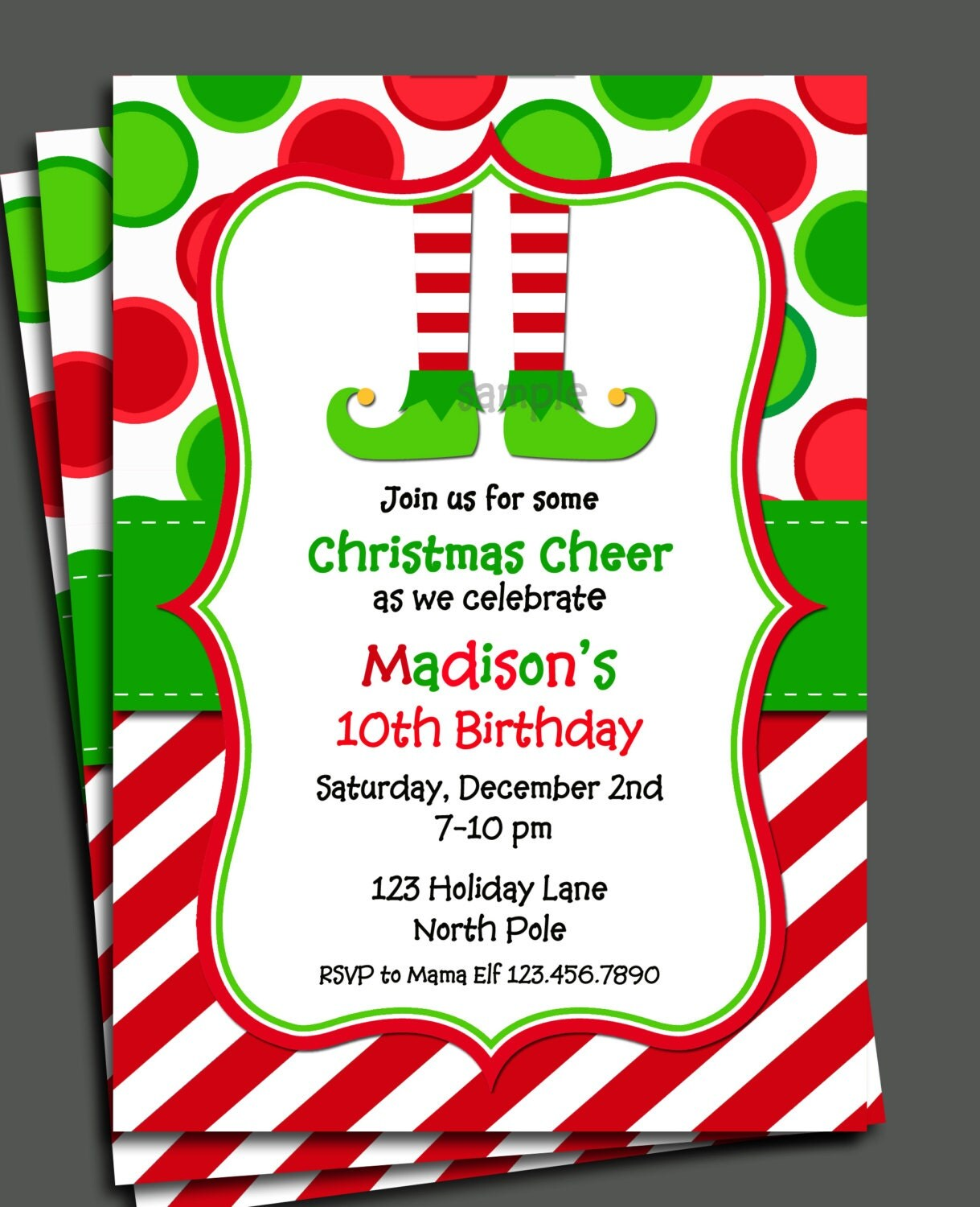 christmas elf invitation printable christmas birthday 128270zoom
