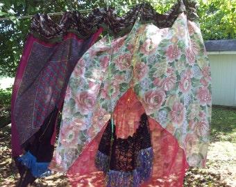 Unique scarf curtain flowing boho gypsy fringe hippie fun garden beach